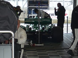 Sporting CP (Superleague Formula team) - Sporting CP car in the pitlane garage at Silverstone Circuit (2010)
