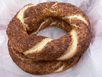 Turkish cuisine - Simit, a circular bread with sesame seeds, is a common breakfast item in Turkey.