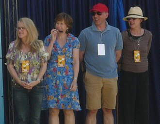 Dan Castellaneta - Castellaneta with fellow Simpsons voice actors Nancy Cartwright, Yeardley Smith and Julie Kavner in 2009