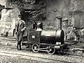 Sir Arthur Percival Heywood, 3rd Baronet (25 December 1849 – 19 April 1916) with his narrow gauge steam locomotive 'Effie'.jpg