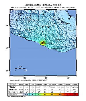 2012 Guerrero–Oaxaca earthquake - USGS ShakeMaps showing the intensity for the mainshock (left) and the 2 April event