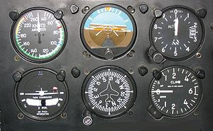 "Flight instruments - Six basic instruments in a light twin-engine airplane arranged in a ""basic-T"". From top left: airspeed indicator, attitude indicator, altimeter, turn coordinator, heading indicator, and vertical speed indicator"