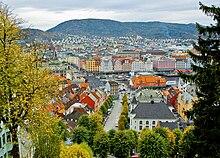 Bergen in autunno. Vista verso il mercato di pesce.