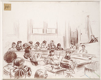 New Haven Black Panther trials - Courtroom sketch of the murder trial in 1970.