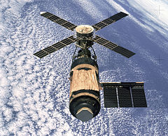 A view of Skylab from the departing Skylab 4 mission