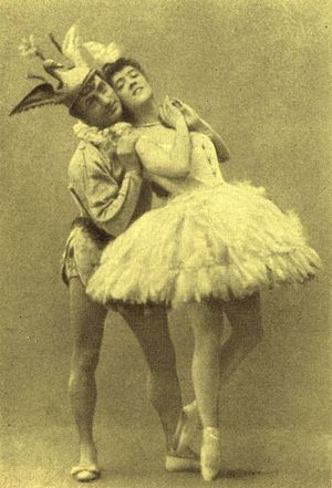 Enrico Cecchetti - Varvara Nikitina and Enrico Cecchetti costumed for the Bluebird Pas de deux from Petipa's original production of The Sleeping Beauty. St. Petersburg, 1890