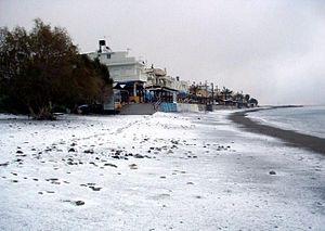 Myrtos - Myrtos, covered with snow, Feb 18 2008.