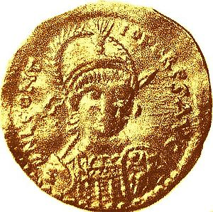 Leontius (usurper) - Gold solidus struck in Leontius' name at Antioch