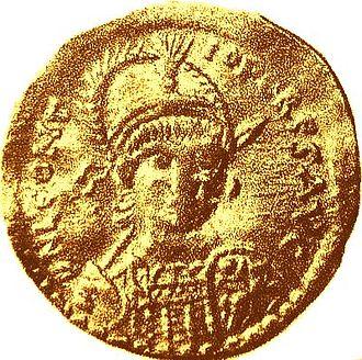 Leontius (usurper) - Gold solidus struck in Leontius' name at Antioch