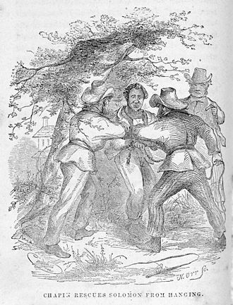 "Solomon Northup - An illustration from Twelve Years A Slave, the memoir of Solomon Northrup, 1853: ""Rescues Solomon from Hanging"""