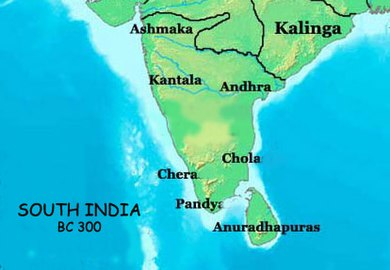 Areas of influence of Cheras, Cholas and Pandyas in 300 BC South India in BC 300.jpg