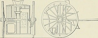 Hansom cab - Specification drawings for Hansom's patent cab 1834. It was for one passenger protected by a high hood which separated them from the driver at his side and had a square body in a square frame with wheels as high as the vehicle.