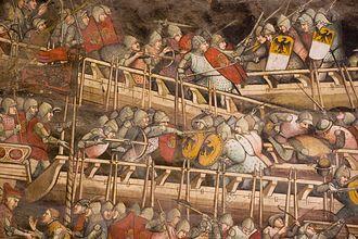 Palazzo Pubblico - Naval Battle of Punta San Salvatore by Spinello Aretino .