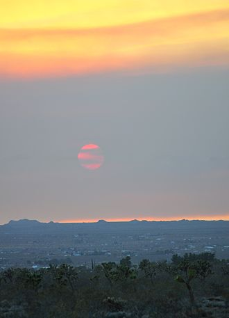 Haze - Haze as smoke pollution over the Mohave from fires in the Inland Empire, June, 2016, demonstrates the loss of contrast to the Sun, and the landscape in general.