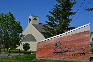 St. Mary's University, Calgary - Image: St.Mary's University College Mc Givney Hall and Sign