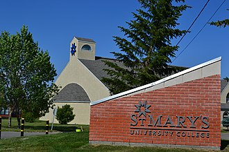 St. Mary's University, Calgary - Image: St.Mary's University College Mc Givney Hall and Sign
