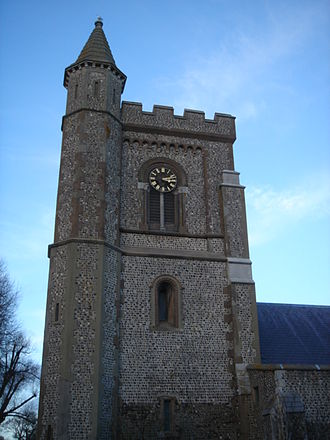 St Andrew's Church, Church Road, Hove - The square tower at the western end of the church.