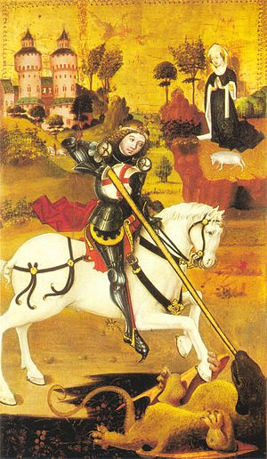 St. George and the Dragon, detail of the left ...