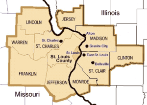 Location in Missouri and Illinois