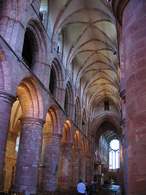 Bishop of Orkney - The Romanesque interior of St. Magnus' Cathedral, the seat of the bishops of Orkney.