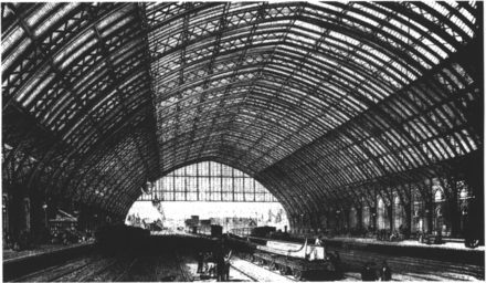 The interior of the Barlow Trainshed, circa 1870 St Pancras Station.png