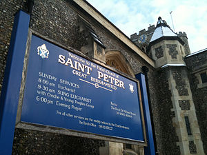 Church of St Peter, Great Berkhamsted - The sign at the front of the church