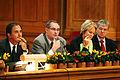 Staffan Bjork, kanslirad utrikesdepartementet, Sverige, Perrti Huitu, Nordisk generalkommisarie, Valgerdur Sverisdottir, Islands samarbets- och naringsminister och John hansen, vice generalkommisarie.jpg