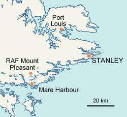 Location on East Falkland.