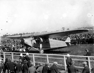 """Eagle Farm Airport - The """"Southern Cross"""", a Fokker F.VII 3m aeroplane, on display, June 1928"""