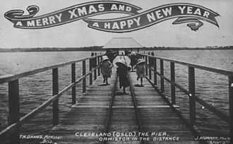 Shire of Cleveland - Christmas postcard featuring Cleveland pier, ca. 1908