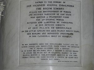 Begum Samru - Inscription on the Statue of Begum Samru at the Basilica of Our Lady Of Graces in Sardhana