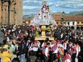 Statue of Santa Ana being carried from the Catedral del Cusco, Peru, for the Corpus Christi procession - 24 July 2012.jpg
