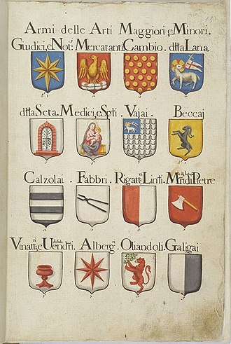 Guilds of Florence - Coats of arms of the guilds of Florence, 18th century.