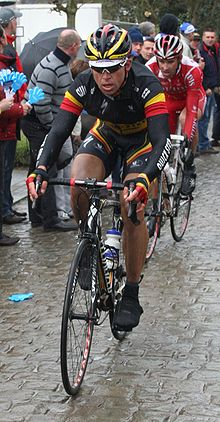 Stijn Devolder on the Oude Kwaremont cobbles.