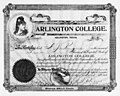 Stock Certificate for $50 issued to A.J. Rogers, Arlington College teacher (10009372).jpg