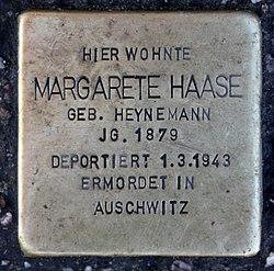 Photo of Margarete Haase brass plaque