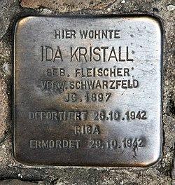 Photo of Ida Kristall brass plaque
