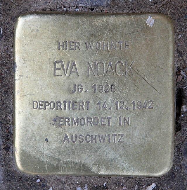 Photo of Eva Noack brass plaque