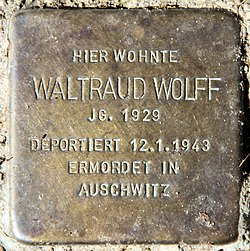 Photo of Waltraud Wolff brass plaque