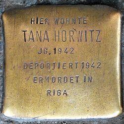 Photo of Tana Horwitz brass plaque