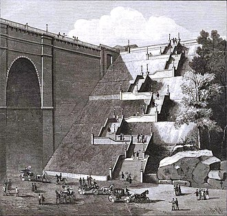 Highbridge Park - Grand staircase, later cut by the vehicular ramp for the Trans-Manhattan Expressway
