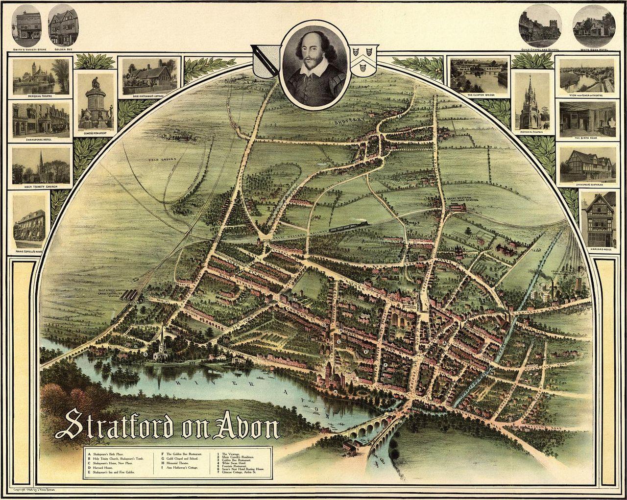FileStratford On Avon Historic Map Jpg Wikimedia Commons - Historic maps england