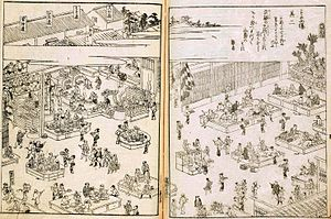 """Soba - """"Sunaba,"""" a famous soba restaurant in Japan, 18th century"""