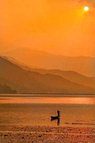 Phewa Lake - Sunset over Phewa Lake