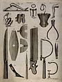 Surgical instruments and protheses. Engraving by Andrew Bell Wellcome V0016373.jpg