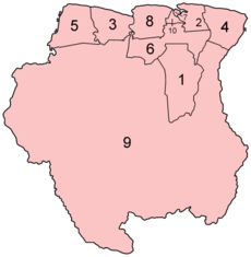 Map of the districts of Suriname in alphabetical order
