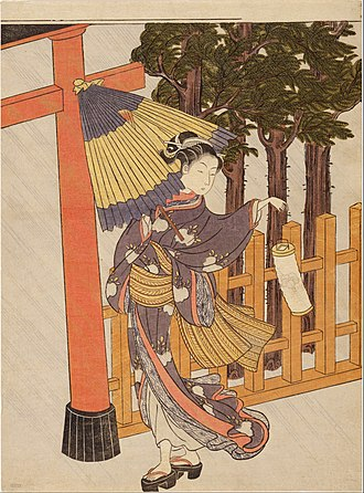 Bijin-ga - Image: Suzuki Harunobu Woman Visiting the Shrine in the Night Google Art Project
