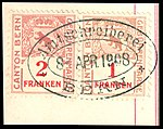 Switzerland Bern 1903-1930 revenue 3 1-2 Fr - 30 and 31a fragment.jpg