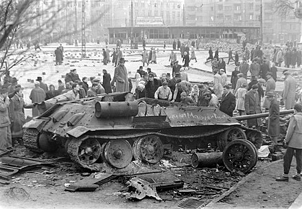 A destroyed Soviet tank in Budapest during the 1956 Revolution; Time's Man of the Year for 1956 was the Hungarian Freedom Fighter Szetlott harckocsi a Moricz Zsigmond korteren.jpg