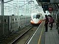 THSR southbound train approaching Hsinchu Station Platform 1 20120816.jpg